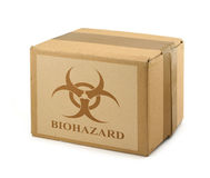 Scatola di cartone con il simbolo #2 di Biohazard Fotografia Stock