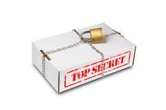 Scatola di cartone con la catena e la serratura Fotografia Stock Libera da Diritti