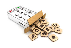 scatola di cartone dello smartphone 3d Fotografia Stock