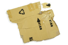 Scatola di cartone maciullata Fotografia Stock