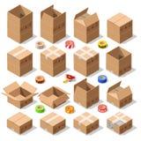Scatola di consegna del cartone che imballa le icone isometriche di vettore 3D illustrazione di stock