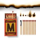 Scatola di fiammiferi e partite Fotografie Stock Libere da Diritti