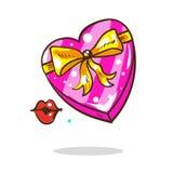 Scatola di forma del cuore di rosa dello spazio in bianco di vettore del fumetto isolata su fondo bianco Giorno del biglietto di  illustrazione di stock