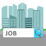 Scatola di Job Search sullo schermo virtuale Fotografia Stock
