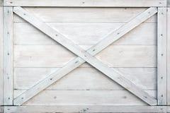 Scatola di legno bianca moderna Front Side Background Immagini Stock