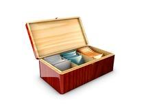 Scatola di legno che imballa per il tè e le bustine di tè, illustrazione 3d Immagine Stock Libera da Diritti