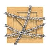 Scatola di legno con la catena isolata su fondo bianco royalty illustrazione gratis