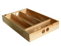 scatola di legno con la coltelleria delle scanalature Fotografia Stock