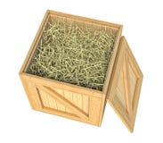 Scatola di legno isolata con fieno su fondo bianco illustrazione di stock
