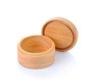 Scatola di legno su bianco Fotografie Stock