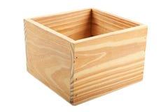 Scatola di legno su fondo bianco Fotografia Stock