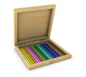Scatola di matite colorate Fotografie Stock Libere da Diritti