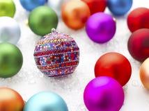 Scatola di ornamenti di natale Fotografia Stock