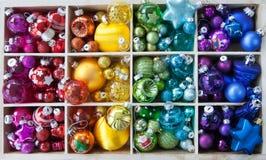 Scatola di ornamenti di natale Fotografia Stock Libera da Diritti