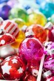Scatola di ornamenti di natale Immagine Stock