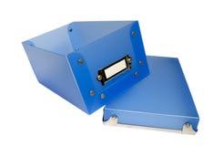 Scatola di plastica blu Immagini Stock