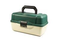 Scatola di plastica verde per l'attrezzatura di pesca fotografie stock