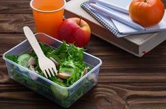 Scatola di pranzo con insalata, la mela, il mandarino ed il succo Fotografia Stock