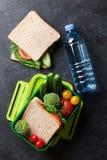 Scatola di pranzo con le verdure ed il panino Immagine Stock Libera da Diritti