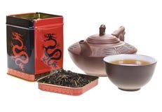 Scatola di, teiera e tazza il tè Fotografia Stock Libera da Diritti
