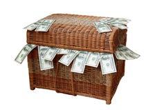 Scatola, dollari, fatture, ricchezza, rapina in banca, finanza, valuta, deposito, corruzione Fotografie Stock Libere da Diritti