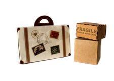 Scatola e bagaglio per il viaggio speciale fotografie stock