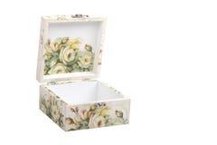 Scatola floreale del modello decorata con la carta di decoupage Fotografie Stock Libere da Diritti
