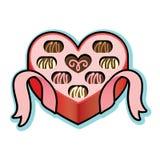 Scatola a forma di del cuore con il cioccolato del biglietto di S. Valentino Immagini Stock