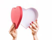 Scatola a forma di del cuore con lo spazio della copia Immagini Stock
