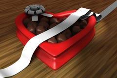 Scatola a forma di del cuore di cioccolato Fotografie Stock Libere da Diritti