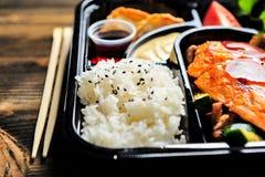 Scatola giapponese di bento pronta da mangiare Fotografie Stock Libere da Diritti