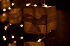 Scatola leggera di Natale Fotografia Stock