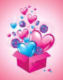 Scatola magica con i cuori ed i dolci Scheda di giorno di Valentineâs Sia il mio biglietto di S Illustrazione di vettore Fotografia Stock Libera da Diritti
