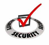 Scatola Mark Caution Prevention Secure Safety 3d Illu del controllo di sicurezza Immagine Stock