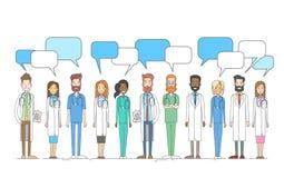 Scatola mediale di chiacchierata dei dottori Team Work With Copy Space del gruppo Fotografia Stock Libera da Diritti
