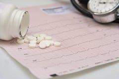 Scatola metallica delle pillole con le pillole e stetoscopio sull'elettrocardiogramma immagini stock