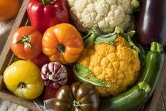 Scatola organica sana del mercato degli agricoltori di estate Fotografia Stock Libera da Diritti