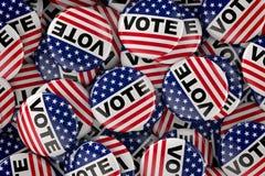 Scatola in pieno di bottoni di voto Immagini Stock