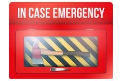 Scatola rossa con l'ascia in caso d'emergenza Immagine Stock