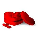 Scatola rossa del cuore con i cuori Fotografia Stock