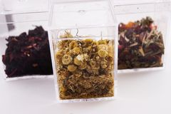 Scatole ad angolo di foglie di tè Fotografie Stock Libere da Diritti