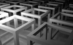 Scatole bianche astratte 3d Fotografie Stock Libere da Diritti