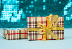 Scatole con i regali per il nuovo anno Fotografia Stock Libera da Diritti