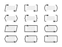 Scatole creative di citazione Fumetti, strutture vuote di citazione isolate su fondo bianco illustrazione di stock