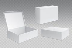 Scatole d'imballaggio realistiche Il pacchetto aperto bianco del cartone, prodotti di vendita in bianco deride su Contenitore qua illustrazione di stock