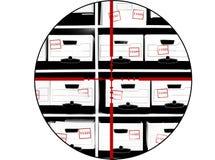 Scatole dei documenti di imposta con i Crosshairs Fotografia Stock Libera da Diritti