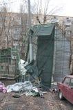 Scatole del parcheggio schiantate dalla tempesta Fotografie Stock Libere da Diritti