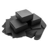 Scatole di carta nere pieghevoli Immagini Stock Libere da Diritti
