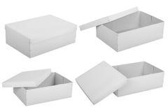 Scatole di cartone bianche in bianco Fotografia Stock Libera da Diritti