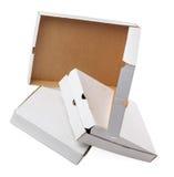 Scatole di cartone bianche utilizzate Fotografia Stock Libera da Diritti
